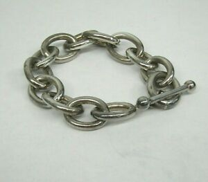 M 925 Sterling Silver Italy Chain Link Bracelet Toggle Clasp
