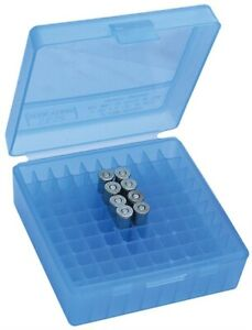 MTM Flip Top Plastic 100 Round Ammo Box 1.68 In Polypropylene Clear Blue P100324