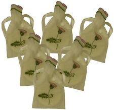 6 New Thistle Embroidered White Organza Semi Sheer Drawstring Celtic Guest Soap