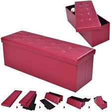 """43""""x15""""x15"""" Large Folding Storage PU Leather Ottoman Pouffe Box Stool Red"""