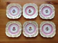 "Vintage Schumann Bavaria Flowers and Gold Plates 8"" Square Salad Plates Set Of 6"