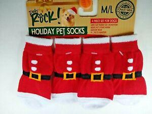 Santa Socks with Gripper Holiday Pet Socks  M/L Dogs Rock!    New