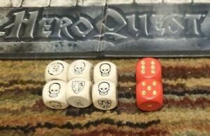 Heroquest Dice Set. White are OEM. Red are Aftermarket.  All are Wooden.