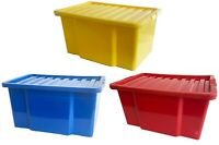 50 LITRE PLASTIC STORAGE BOXES QUALITY BOX WITH LID STACKABLE HOME OFFICE STRONG
