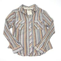 Free People Multicolor Midwest Stripe Long Sleeve Button Front Shirt Size Medium