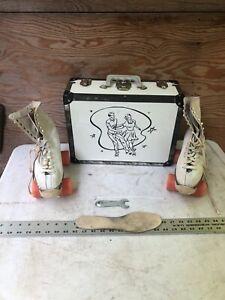 Vintage Hyde Roller Skates White Leather Chicago Derby Wheels Size 8