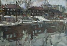Siberian spring Landscape by Sergey AVDEEV Original RUSSIAN oil Painting