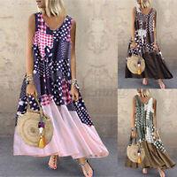 UK Womens Beach Holiday Sleeveless V-Neck Floral Casual Loose Maxi Dress Size