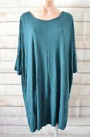 Monki Smock T Shirt Dress Size Large Green Shortsleeve