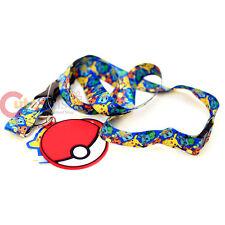 Pokemon Lanyard Sublimated All Over Prints Key Chain with PVC Pokeball Dangle