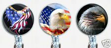 Badge Reel Retractable ID Name Card Holder Patriotic American Flag Eagles USA