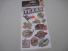 Scrapbooking Stickers Sticko Texas Lone Star State Tree Fish Bird Flag Insect