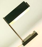 Tisch Lampe chrom + grün Lese Leuchte Banker Barren Vintage 70er Jahre