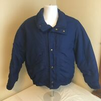 Woolrich Mens Down Jacket Coat Blue Full Zip Large Puffer USA Made Free Shipping
