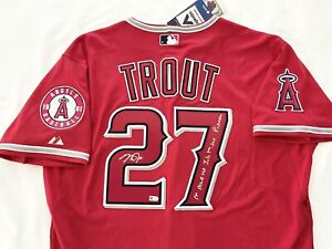 ANGELS MICHAEL MIKE NELSON TROUT signed INSCRIBED HIT JERSEY MLB AUTHENTICATED