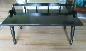 Vintage Mid Century Modern Colonial Style Spindle Black Gloss Wood Coffee Table