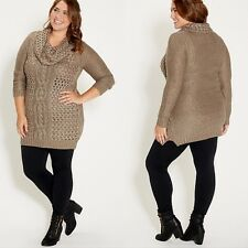 New! Maurices Fall/Winter Cable Open Knit Sweater Dress Plus Size 1 16/18 1X