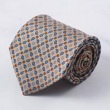 E.Marinella Napoli Sky Blue and Orange Mini Floral Leaf Print Silk Tie