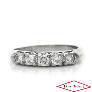 Estate 0.30ct Diamond Platinum Five Stone Engagement Band Ring Size 4.75 NR
