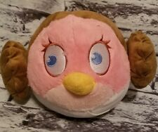 "ANGRY BIRDS STAR WARS PRINCESS LEIA PLUSH PINK BIRD 10"" WIDE STUFFED ANIMAL"