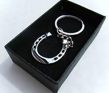 Lucky Metal Horseshoe Keyring Chrome Finish Key Chain Gift Boxed BRAND NEW