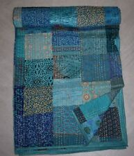 Indian Beautiful Silk Patola Kantha King Quilt Bedspread Throw Patchwork Blanket