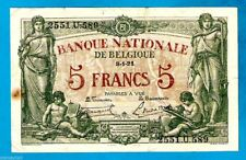More details for belgium p75b 5 francs/frank allegorical woman & boys early issue 8.1.1921 xfrare