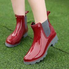 RED US7.5 Womens Elastic Waterproof Rubber Ankle Rain Boot Slip on Heel Shoes