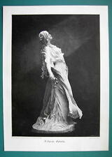 LOVELY MAIDEN Shakespeare's Ophelia Sculpture - 1890s Antique Engraving Print