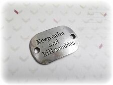 Word Charm Quote Charm Connector Keep Calm and Kill Zombies Antiqued Silver