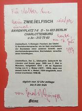 1996 - GERALD BISINGER (1936-1999) österr. Lyriker Widmung auf Menükarte an Aue