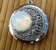 Lunette - Moon inspired silver locket with vintage glass moon stone
