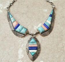 Inlay Turquoise Lapis Necklace Old Pawn Vintage Oscar Alexius