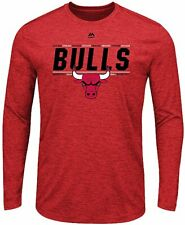 """Chicago Bulls Majestic """"Thrill A Minute"""" Men's Long Sleeve Performance T-Shirt"""