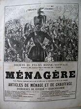 PUBLICITE DE PRESSE A LA MENAGERE ARTICLES DE MENAGE QUINCAILLERIE PARIS AD 1866