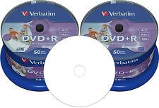 100 Verbatim DVD+R 4,7GB wide photo printable no-ID voll bedruckbar Spindel