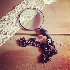 Vintage Style, Antique Black Brown Monocle Magnifying Glass Pendant Pocket Chain
