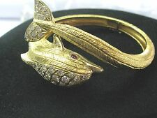 18Kt MARAMENOS PATERAS Gem Ruby Diamond Dolphin Yellow Gold Bangle 2.85Ct