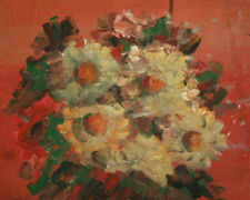 Antique European impressionist oil painting still life with flowers