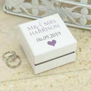 Personalised **Mr & Mrs / Mr & Mr / Mrs & Mrs** White Wedding Ring Box