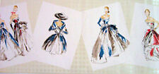 Christian Dior Couture Gowns Wallpaper Border  543030  Red & Blue