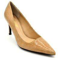 J Renee Womens Alipha Leather Embossed Snake Skin Pumps US Size 7M Tan