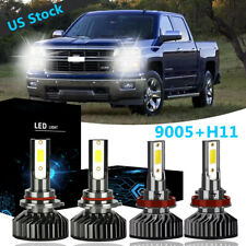 4x 9005 + H11 Led Headlight Bulb 55W High Low Beam Kit For 2007-2017 Chevy Tahoe
