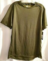 Russell Mens Size Medium Army Green Short Sleeve Shirt Intellifresh  NEW