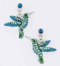 HUMMING BIRD AQUA BLUE RHINESTONE & ENAMEL PIERCED DANGLE EARRINGS