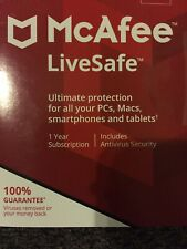 NEW MCAFEE LIVESAFE 1 YEAR SUBSCRIPTION SHIP EVERYDAY