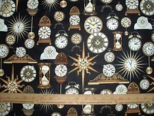 Cotton Quilting Treasures Clocks Sands of Time Mantle Clock on black By the Yard