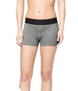 Aeropostale Womens Rubber Logo Athletic Compression Shorts, Grey, Medium
