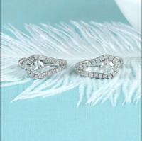 Vintage Engagement Traditional Huggie Hoop Earrings 2.9Ct Diamond 14K White Gold