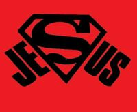vinyl decal sticker super Jesus Car truck window Decal Laptop Cup Yeti BLK/WHT